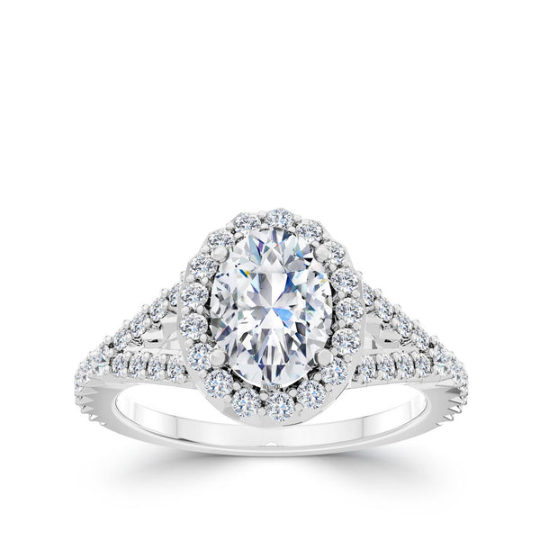 Perrywinkle's Halo Oval Engagement Ring In Platinum