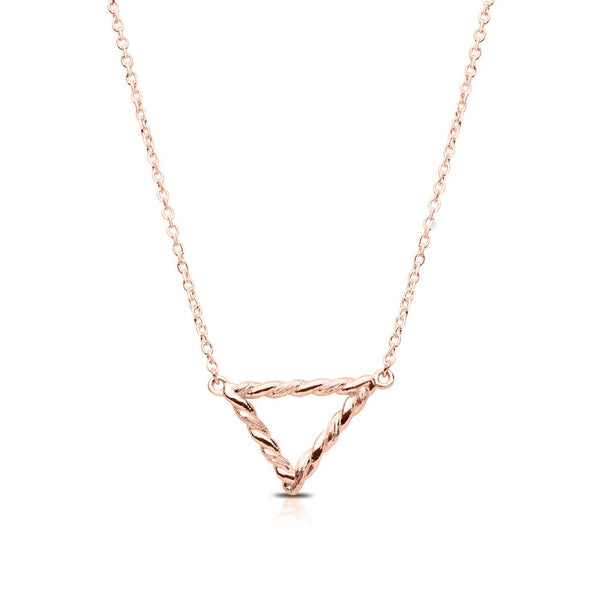 Perrywinkle's Simplicity Diamond Triangle Florentine Twist Necklace In 14K Rose Gold