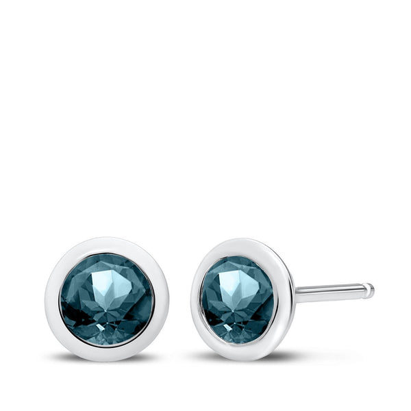 Perrywinkle's Dew Drop Aquamarine Round Earrings In 14k White Gold