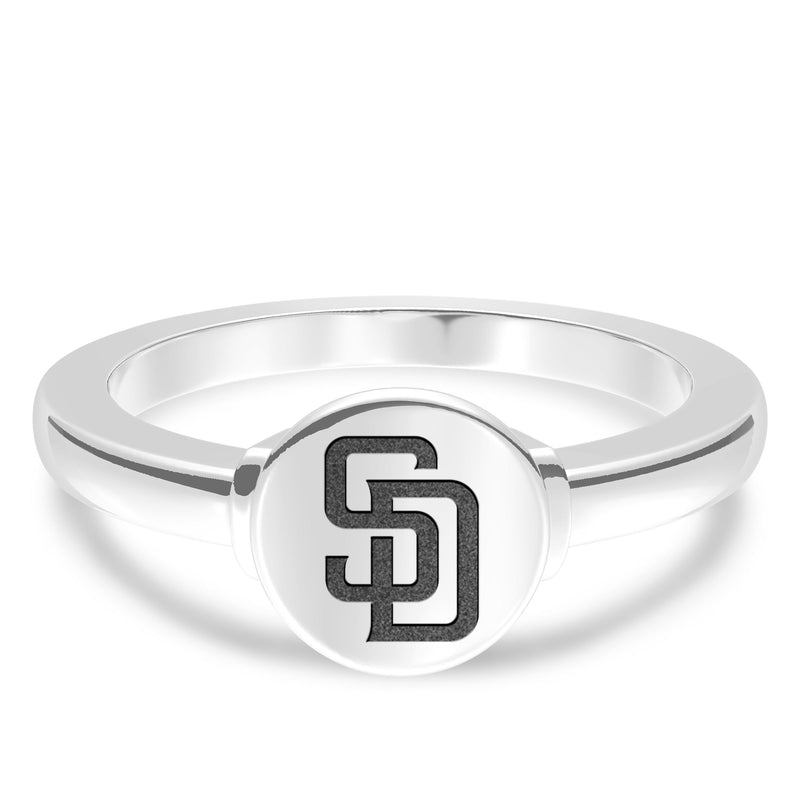 San Diego Padres Logo Engraved Ring In Sterling Silver