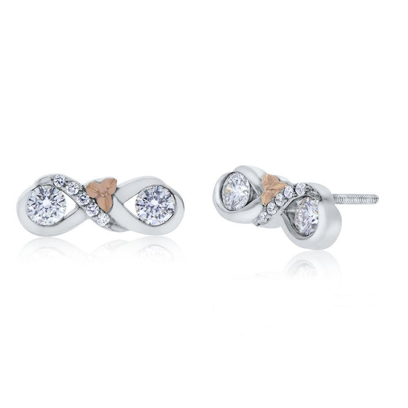 Perrywinkle's Easton Diamond Love & Cherish Earring In 14K White Gold & 14K Rose Gold