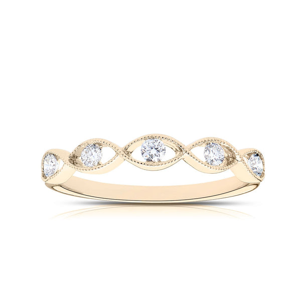 Perrywinkle's Easton Diamond Milgrain Twist Ring In 14K Yellow Gold