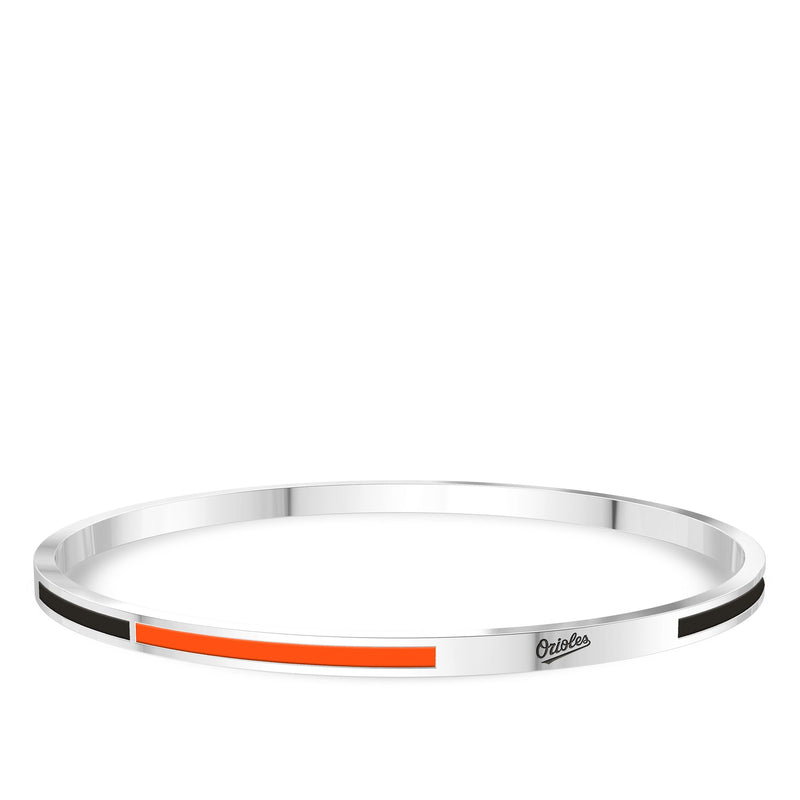Baltimore Orioles Engraved Two-Tone Enamel Bracelet In Sterling Silver