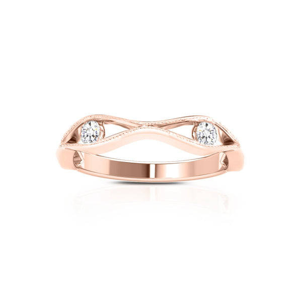 Perrywinkle's Easton Diamond Milgrain Open Wave Ring In 14K Rose Gold