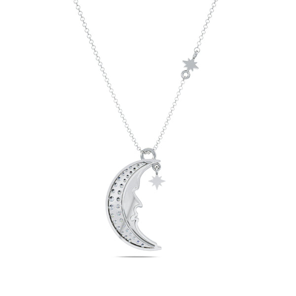 Perrywinkle's Easton Diamond Moon & Stars Necklace In Sterling Silver
