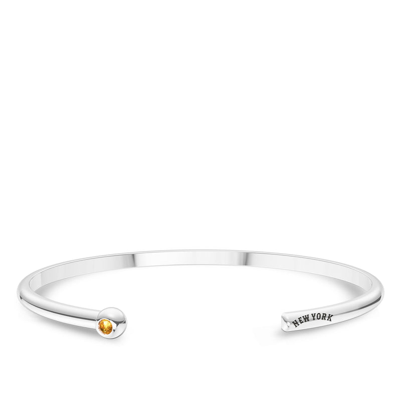 New York Mets Citrine Engraved Cuff Bracelet In Sterling Silver