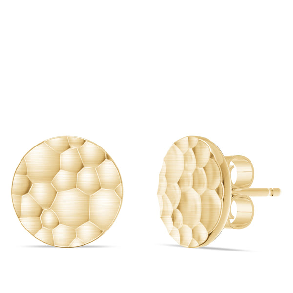 Perrywinkle's Simplicity Diamond Hammered Finish Round Disc Earring In 14K Yellow Gold