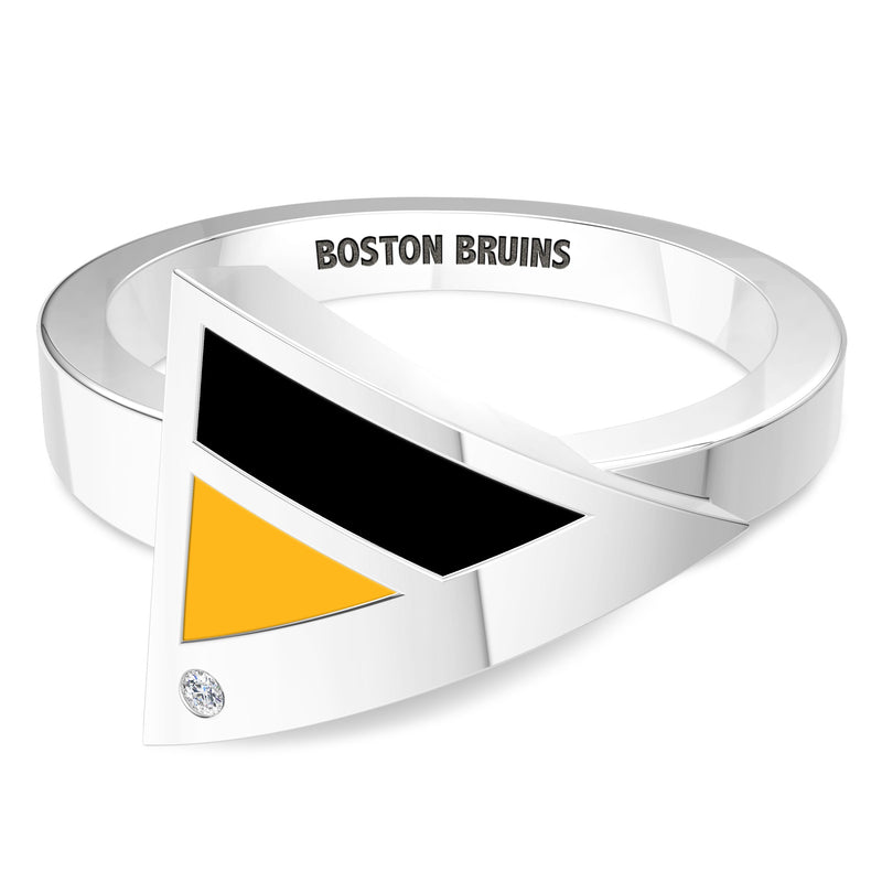 Boston Bruins Diamond Engraved Geometric Ring In Sterling Silver