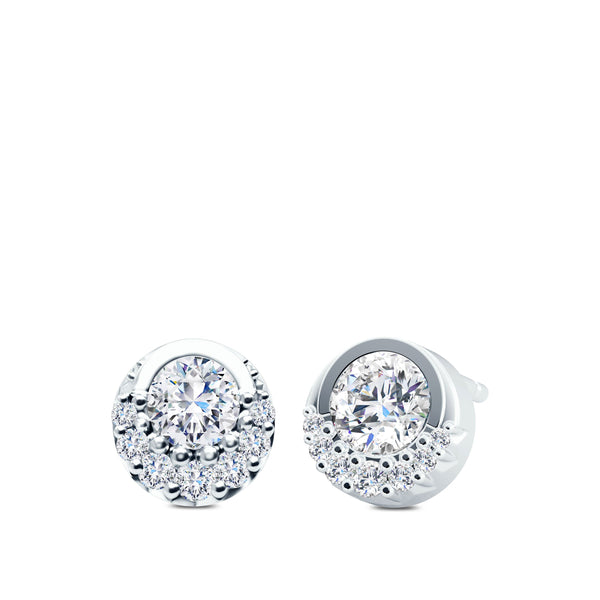 Perrywinkle's Easton Diamond Crescent Halo Earring In 14K White Gold