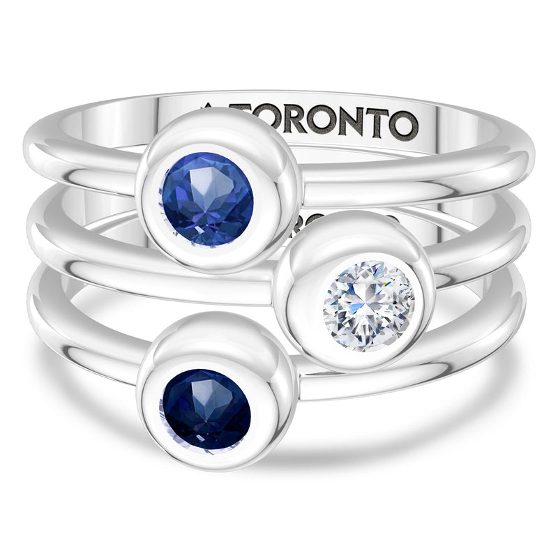 Toronto Blue Jays Sapphire Engraved Ring In Sterling Silver