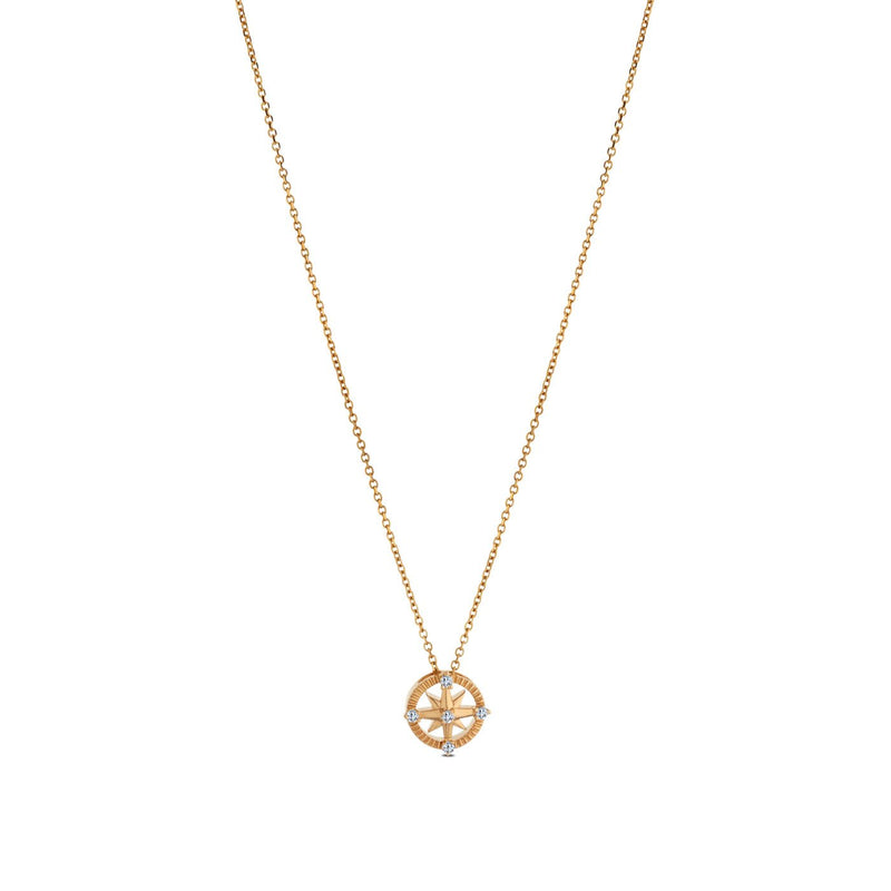 Perrywinkle's Nautical Diamond Compass Pendant In 14K Yellow Gold