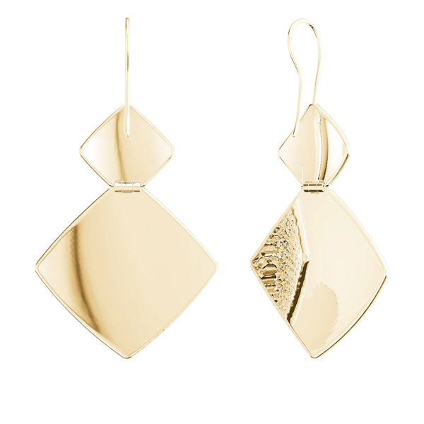 Perrywinkle's Simplicity Diamond Hammered Finish Dangle Earring In 14K Yellow Gold