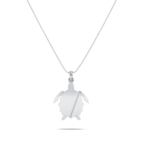Perrywinkle's Nautical Diamond Turtle Pendant In Sterling Silver