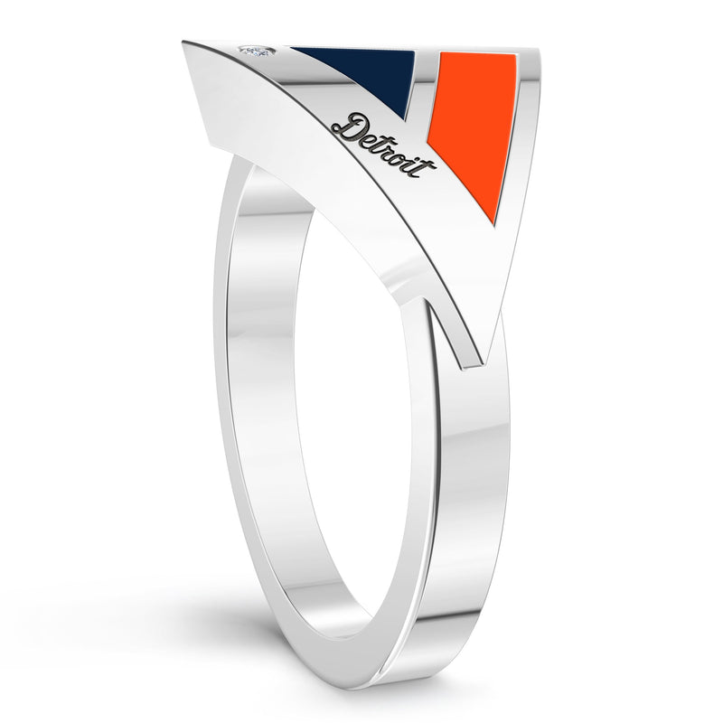 Detroit Tigers Diamond Engraved Geometric Ring In Sterling Silver