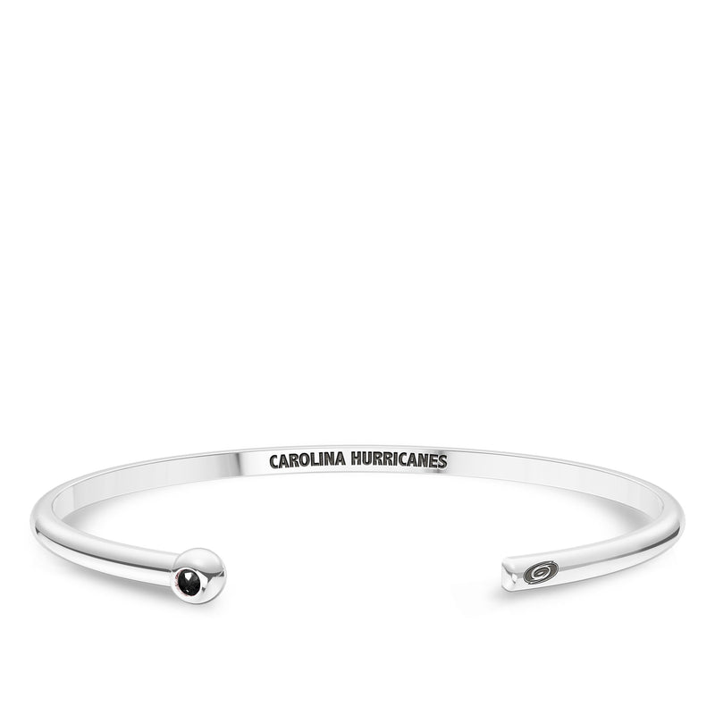 Carolina Hurricanes Onyx Engraved Cuff Bracelet In Sterling Silver