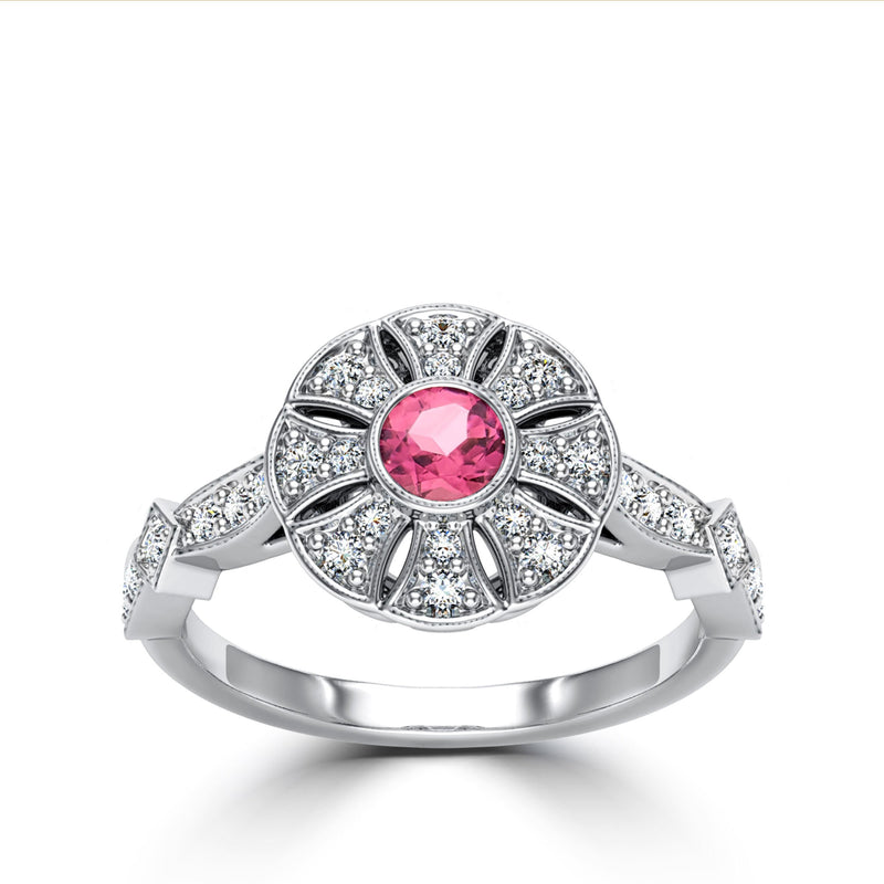 Perrywinkle's Easton Diamond Flower Milgrain Ring In 14K White Gold