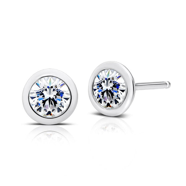 Perrywinkle's Dew Drop Diamond Bezel 1 CTTW Round Earring In 14K White Gold
