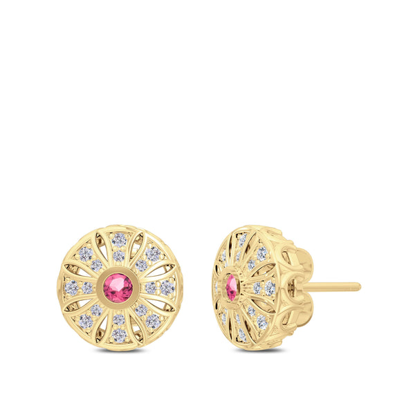 Perrywinkle's Rosette Pink Tourmaline and Diamond Milgrain Sun Earrings In 14K Yellow Gold