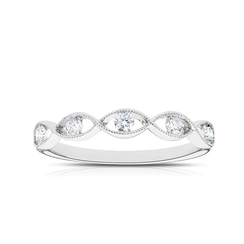 Perrywinkle's Easton Diamond Milgrain Twist Ring In Sterling Silver