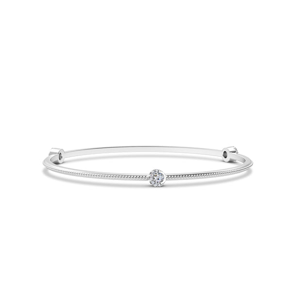 Perrywinkle's Easton Diamond 3 Station Crescent Halo Bangle In 14K White Gold