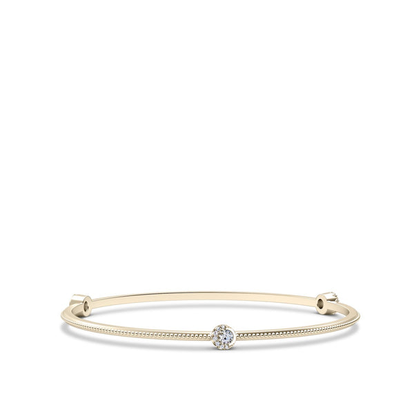 Perrywinkle's Easton Diamond 3 Station Crescent Halo Bangle In 14K Yellow Gold