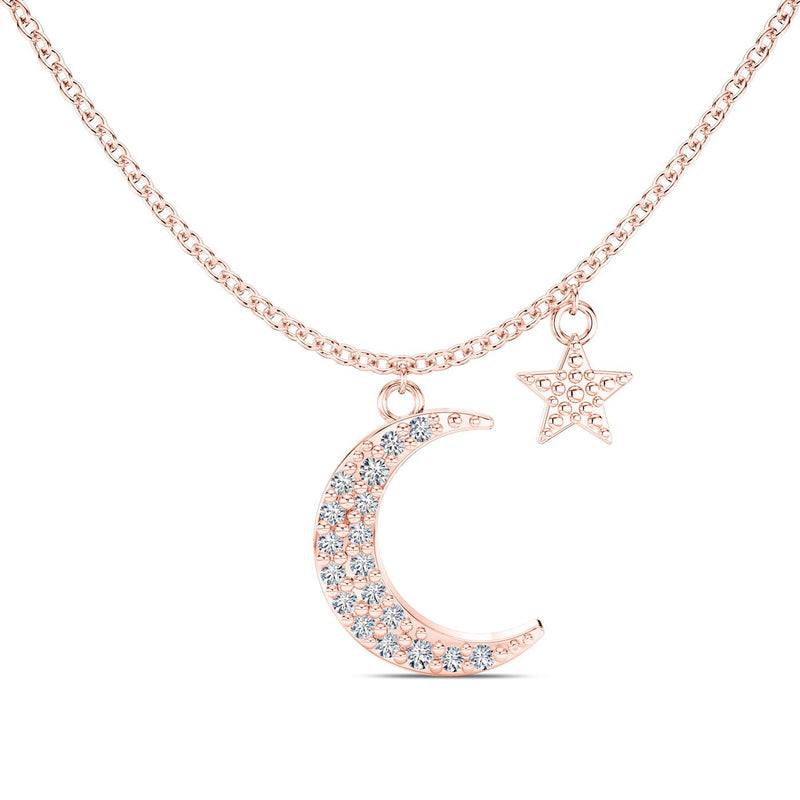 Perrywinkle's Etoile Moon & Star Necklace in 14K Rose Gold