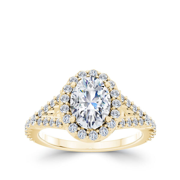 Perrywinkle's Halo Oval Engagement Ring In 18k Gold