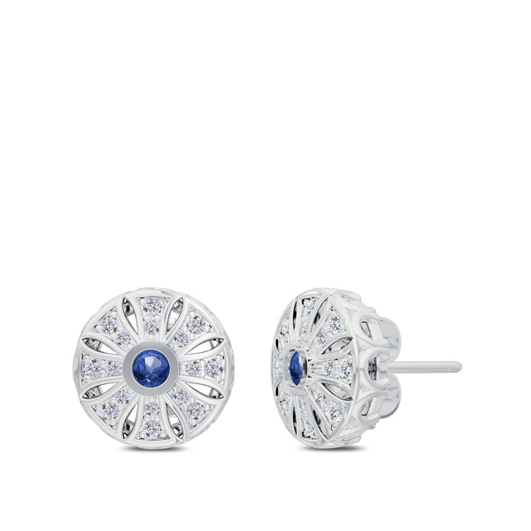 Perrywinkle's Easton Diamond Milgrain Sun Earring In 14K White Gold