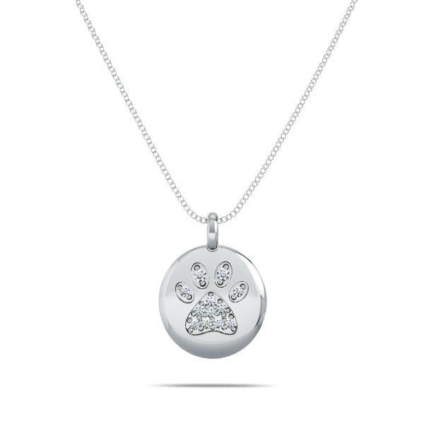 Perrywinkle's Expressions Diamond Paw Print Pendant In Sterling Silver