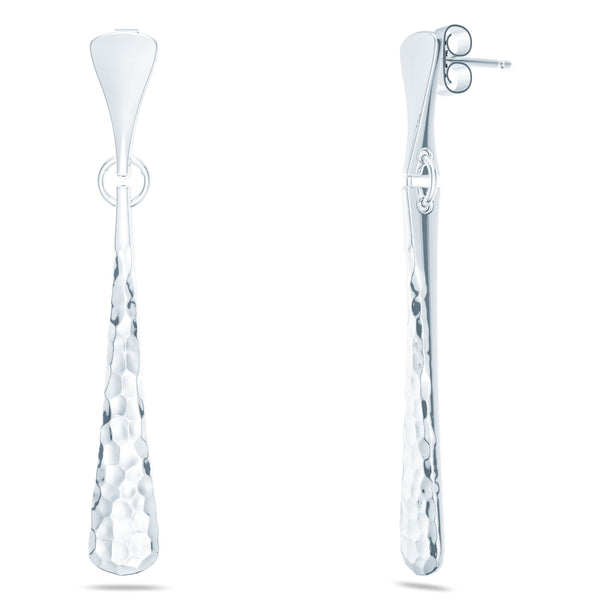 Perrywinkle's Simplicity Diamond Hammered Finish Dangle Earring In 14K White Gold