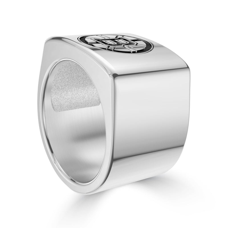 Boston Bruins Engraved Logo Ring In Sterling Silver