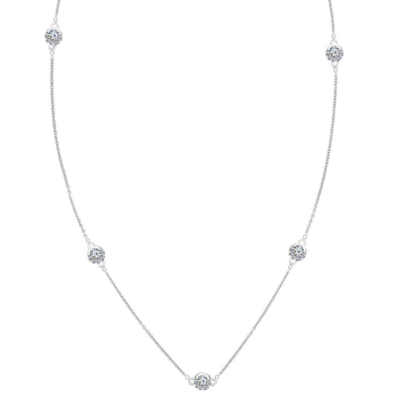 Perrywinkle's Easton Diamond Crescent Halo Station Necklace In 14K White Gold