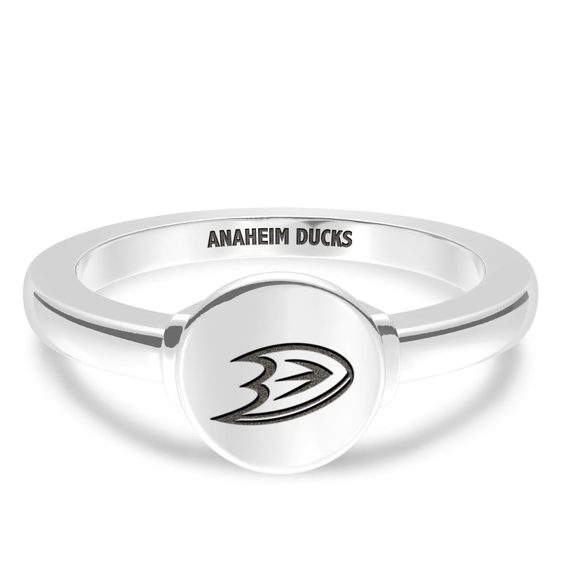 Anaheim Ducks Logo Engraved Ring In Sterling Silver