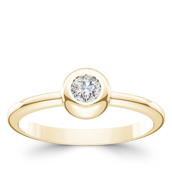 Perrywinkle's Dew Drop Diamond Bezel Ring In 14K Yellow Gold