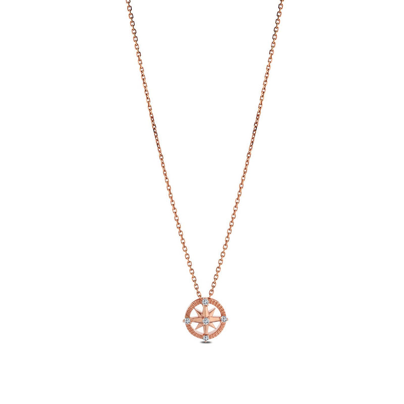 Perrywinkle's Nautical Diamond Compass Pendant In 14K Rose Gold