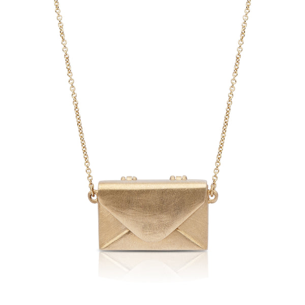 Perrywinkle's Pure Love Diamond Love Letter Necklace In 14K Yellow Gold