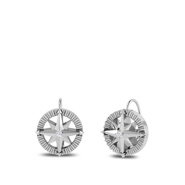 Perrywinkle's Nautical Diamond Compass Earrings In Sterling Silver