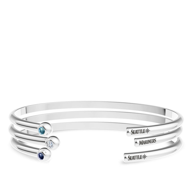 Seattle Mariners Swiss Blue Topaz Engraved Cuff Bracelet In Sterling Silver