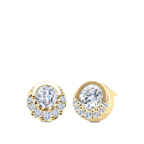 Perrywinkle's Easton Diamond Crescent Halo Earring In 14K Yellow Gold