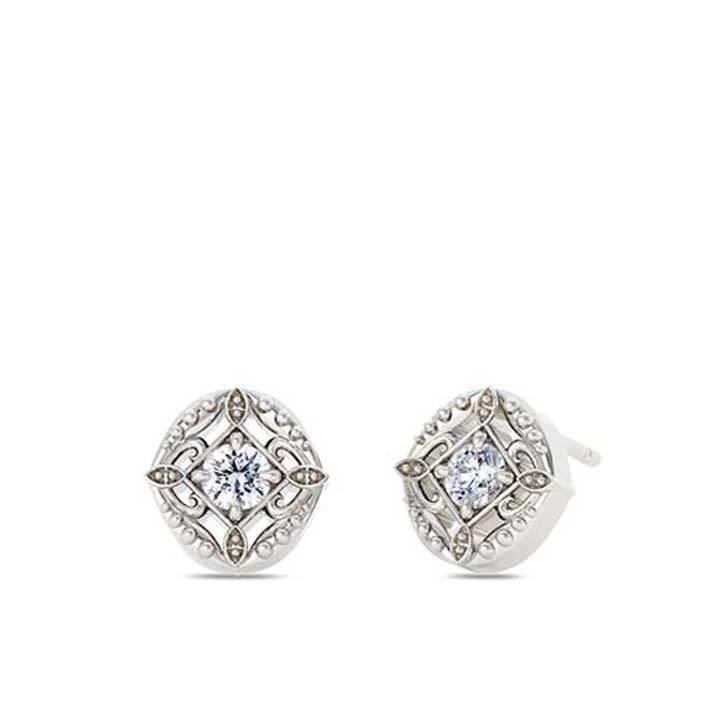 Perrywinkle's Easton Diamond Lace Earring In 14K White Gold