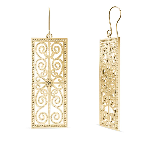 Perrywinkle's Simplicity Diamond House of Paisley Earring In 14K Yellow Gold