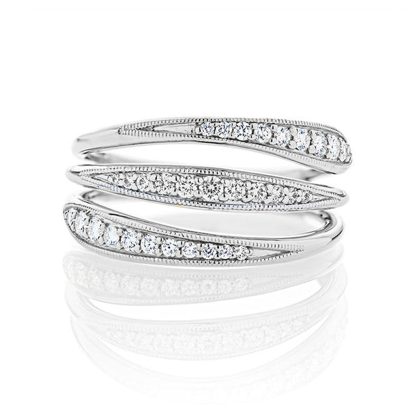 Perrywinkle's Pas De Trois Diamond Triple Band Ring In 18k White Gold