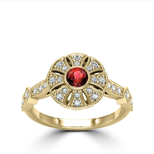 Perrywinkle's Rosette Ruby and Diamond Flower Milgrain Ring In 14K Yellow Gold