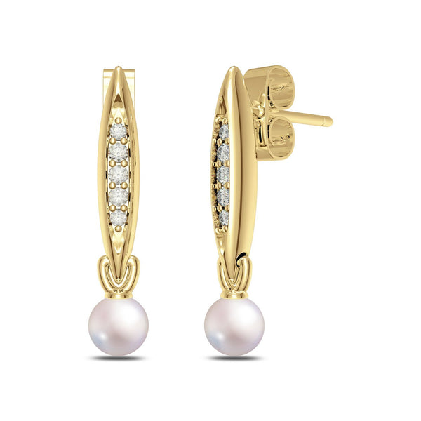 Perrywinkle's Pas de Trois Classics Diamond Drop Earring In 14K Yellow Gold