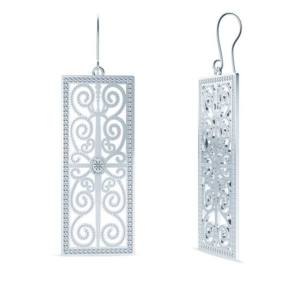 Perrywinkle's Simplicity Diamond House of Paisley Earring In 14K White Gold