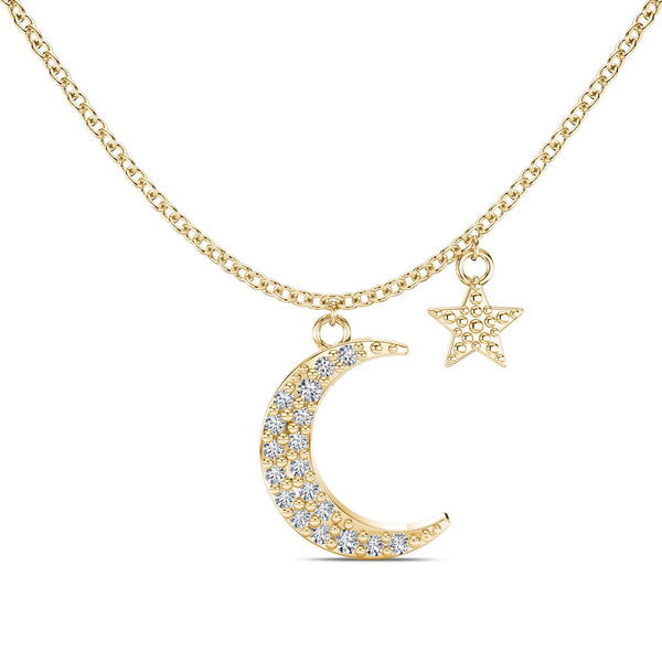 Perrywinkle's Etoile Moon & Star Necklace in 14K Yellow Gold