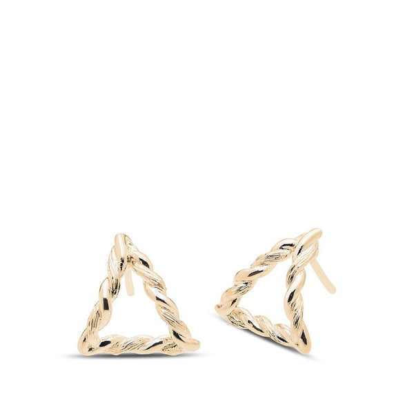 Perrywinkle's Simplicity Diamond Triangle Florentine Twist Earring In 14K Yellow Gold