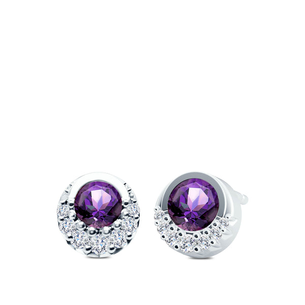 Diamond & Ameythst Half-Bezel Earrings in 14K