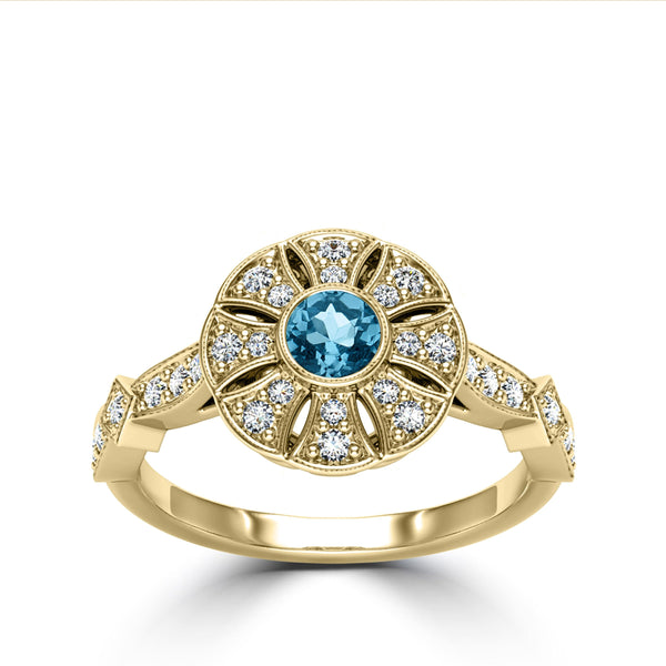 Aquamarine & Diamond Sun Ring in 14K Yellow Gold