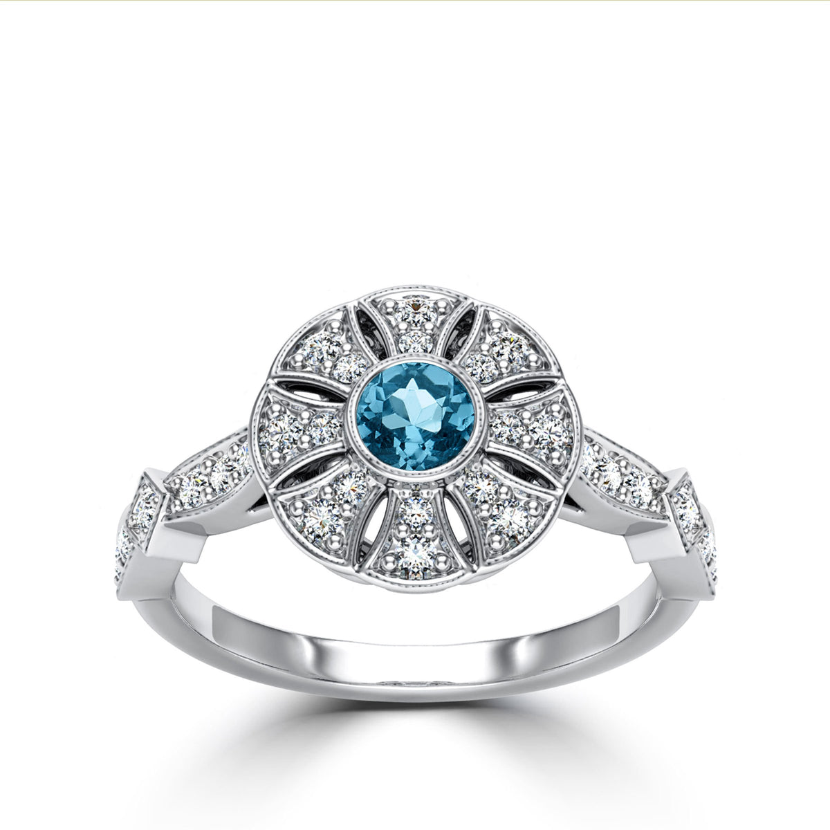 Aquamarine & Diamond Flower Milgrain Ring in 14K White Gold
